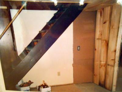 Tolland Massachusetts, log cabin, staircase bar