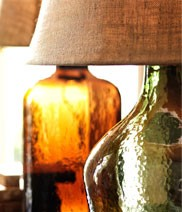 bottles turned into lamps