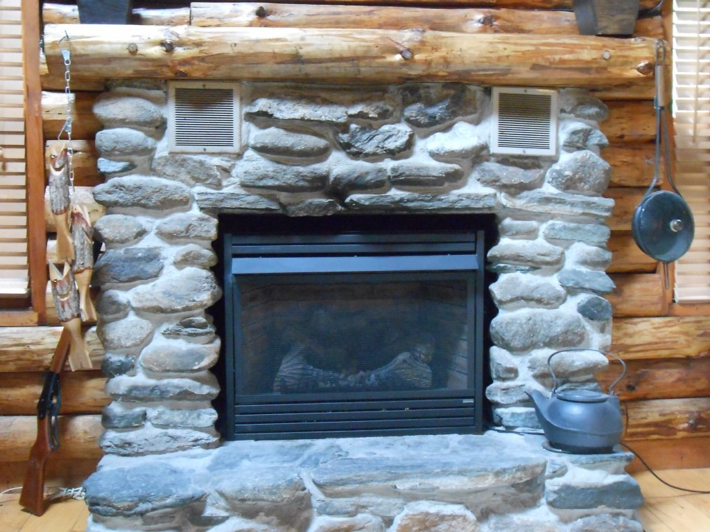 Staining a stone fireplace