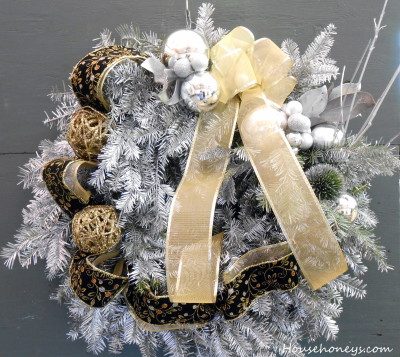 silver and gold wreath