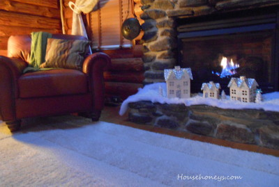 winter fireplace scene