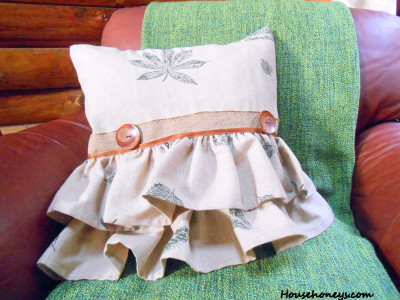 ruffled pillow with ribbon