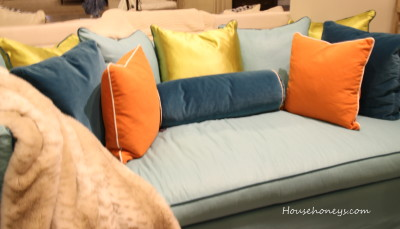 orange and blue sofa