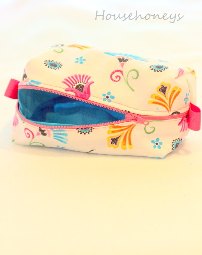 lined cosmetic pouch