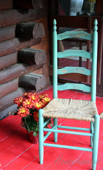 green chair, distressed