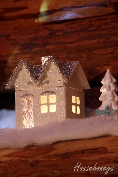 Paper Mache Glitter Houses