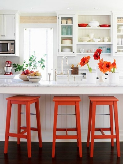 bright orange stools