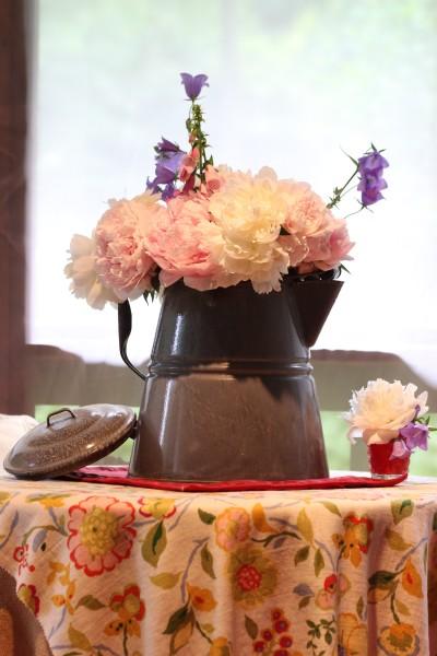 rustic vase peonies