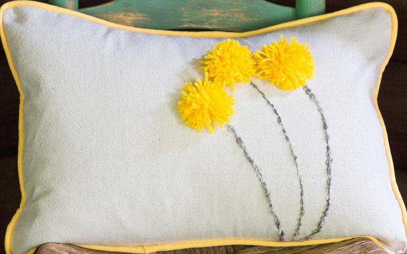 A Fun & Easy Drop Cloth Pom Pom Pillow