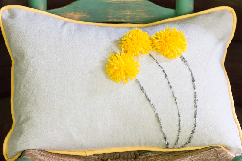 A Fun & Easy Drop Cloth Pom Pom Pillow