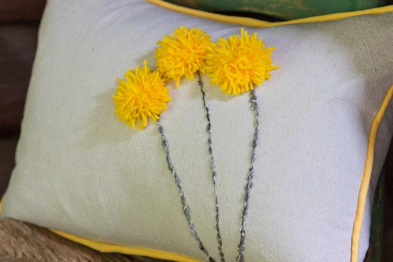 pom pom drop cloth pillow
